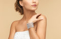 Woman with pearl earrings and bracelet beautiful bride wearing Stock Photography