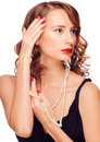 Woman with pearl necklace Royalty Free Stock Images