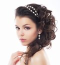 Luxury. Rich Stylish Brunette with Pearly Beads. Elegant Style Royalty Free Stock Photo