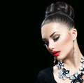Woman with perfect makeup and luxury accessories Royalty Free Stock Photo