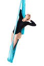 Woman performer on aerial silk isolated white Stock Photos