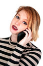Woman on the phone beautiful talking a cell Royalty Free Stock Photography