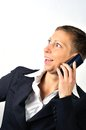 Woman with a phone blonde businesswoman is calling and white background Royalty Free Stock Photography