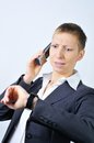 Woman with phone blonde businesswoman a is stressed Stock Photo