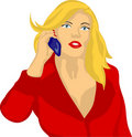 Woman with phone colored Royalty Free Stock Photography
