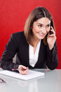 Woman on the phone work desk smiling young Stock Images