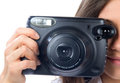 Woman photo camera taking picture Royalty Free Stock Photography