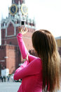 Woman photographed attractions in moscow young Stock Image