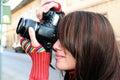 Woman photographer close up Royalty Free Stock Photo