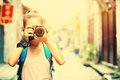 Woman photographer taking photo outdoor Royalty Free Stock Photo