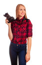 Woman Photographer Thinking Wh...
