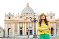 Woman on piazza san pietro in vatican city state Royalty Free Stock Photo