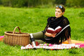 Woman on Picnic Stock Photos