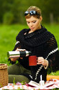Woman on Picnic Stock Photography