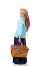 Woman picnic basket white background Stock Photo