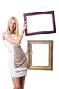 Woman with picture frame Stock Photo