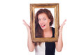 Woman with picture frame on white Royalty Free Stock Image