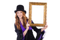 Woman with picture frame on white Royalty Free Stock Photo
