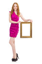 Woman with picture frame on white Royalty Free Stock Images