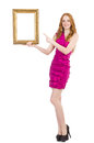 Woman with picture frame on white Royalty Free Stock Photography