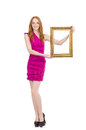 Woman with picture frame on white Stock Image