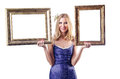 Woman with picture frames on white Royalty Free Stock Image