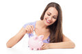 Woman with piggy bank casual young over white background Royalty Free Stock Photo