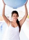 Woman with a pilates ball beautiful exercising Stock Photo