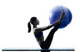 Woman pilates ball exercises fitness isolated Royalty Free Stock Photo