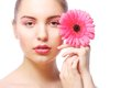 Woman with pink gerber flower Royalty Free Stock Photo