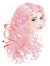 Woman with pink hair Royalty Free Stock Image