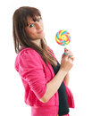 Woman pink jacket standing candy white background Stock Image