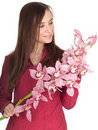 Woman with pink orchid Stock Photography