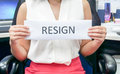Woman with pink skirt resign from job the company Stock Photography