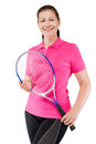Woman in pink T-shirt holding a racket for tennis on a white Royalty Free Stock Photo