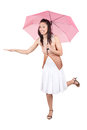 Woman with pink umbrella brunette in a white dress figuring what the weather is Stock Photography