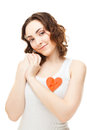 Woman with a pinned heart Stock Photos