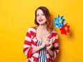 Woman with pinwheel toy Royalty Free Stock Photo