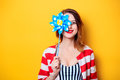 Woman with pinwheel toy Royalty Free Stock Photo
