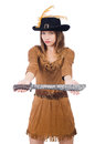 Woman pirate with knife isolated on white Royalty Free Stock Image