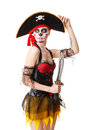 Woman pirate with a sword costume for halloween creative make up the skull isolated on white background Stock Photos