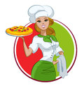 Woman pizza cook vector illustration isolated on a white background Stock Image