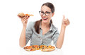 Woman with pizza giving thumbs up young over white background Royalty Free Stock Photo