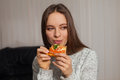 Woman and pizza Royalty Free Stock Photo