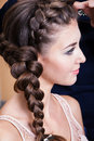 A woman with plait Royalty Free Stock Photo
