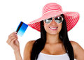 Woman planning her vacations Stock Photography