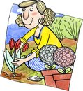 Woman is planting flowers in the garden watercolor and ink illustration Stock Photo