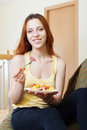 Woman with plate of  fruits salad Royalty Free Stock Photo