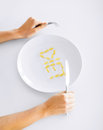 Woman with plate and meds sport healthcare diet concept Stock Photos