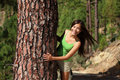 Woman playful in forest Royalty Free Stock Photography